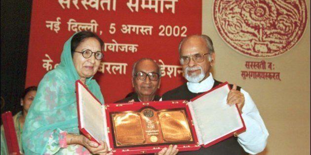 NEW DELHI, INDIA - AUGUST 5: Dr. Dalip Kaur Tiwana receiving Saraswati Samman FROM FORMER PRIME MINISTER...