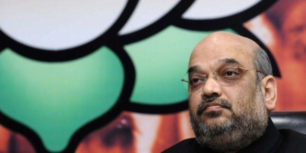 NEW DELHI, INDIA - SEPTEMBER 26: Bharatiya Janata Party (BJP) President Amit Shah during the launch of...