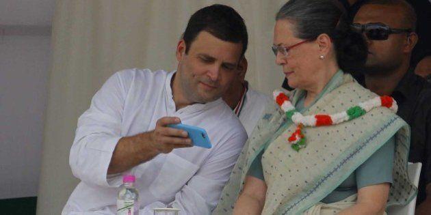 NEW DELHI, INDIA - SEPTEMBER 20: Congress Vice President Rahul Gandhi and Congress President Sonia Gandhi...