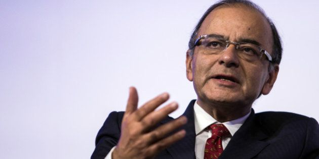 Arun Jaitley, India's finance minister, speaks during the Singapore Summit in Singapore, on Friday, Sept....