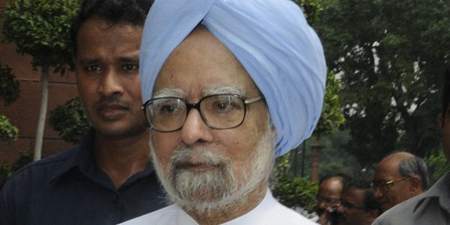 NEW DELHI, INDIA - AUGUST 5: Former Prime Minister Manmohan Singh after protest against Prime Minister...