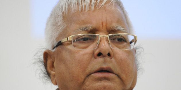 PATNA, INDIA - AUGUST 12: RJD Chief Lalu Yadav at a joint press conference to announce Maha Gathbandhan...