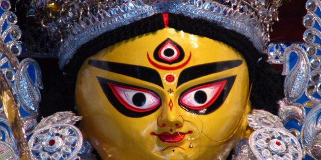 Close up view of Goddess Durga Idol at Bagbazar, North