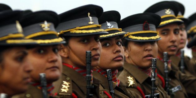 NEW DELHI, INDIA - JANUARY 15: Women officer contingent of the Indian Army march during the Army Day...