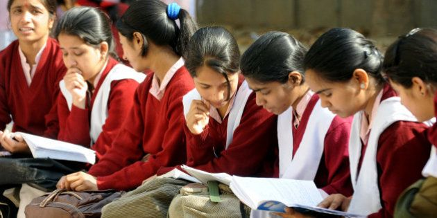 (FILES) In this photograph taken on March 1, 2012 Indian school children prepare for their Central Board...