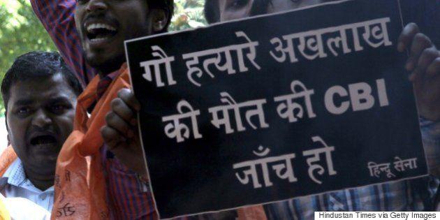 NEW DELHI, INDIA - OCTOBER 9: Activists of Hindu Sena or 'Hindu Army' burn an effigy of Chief Minister...