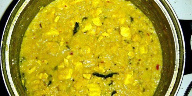 Moong & Tur Dal with tofu, coriander, turmeric, mustard and cumin