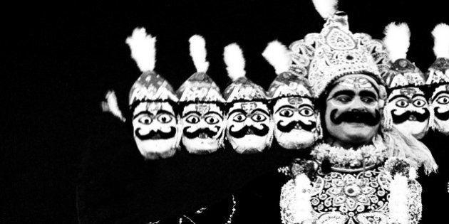 Ravana in Ramleela, Dassera festival, Mumbai, Maharashtra, India, 1984 (Photo by Jagdish Agarwal/Dinodia...