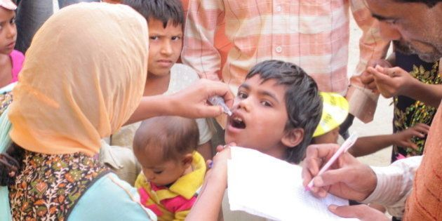 Child receiving the polio
