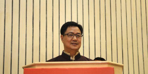 NEW DELHI, INDIA - SEPTEMBER 28: Kiren Rijiju, Minister of State for Home Affairs, addresses the National...