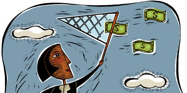 An illustration of a businesswoman catching money using a