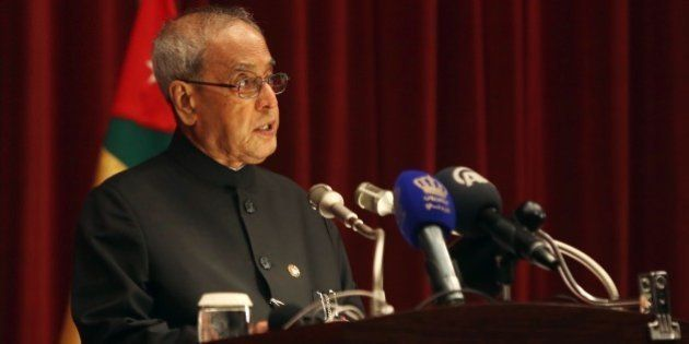 AMMAN, JORDAN - OCTOBER 10: Indian President Pranab Mukherjee delivers a speech after he got the title...