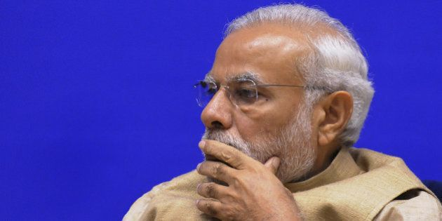 NEW DELHI, INDIA - OCTOBER 16: Indian Prime Minister Narendra Modi during the inauguration of the 10th Annual Convocation of Central Information Commission (CIC) at Vigyan Bhavan on October 16, 2015 in New Delhi, India. Modi said that right to information is not only about the right to know but also the right to question as this will increase faith in democracy.(Photo by Mohd Zakir/Hindustan Times via Getty Images)
