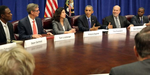 WASHINGTON, D.C. - OCTOBER 6: President Barack Obama meets with agriculture and business leaders at the...