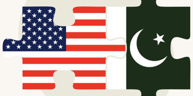 Vector Image - USA and Pakistan Flags in puzzle isolated on white