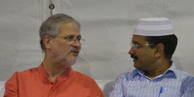 NEW DELHI, INDIA JULY 12: Arvind Kejriwal with Lieutenant Governor Najeeb Jung during an Iftar party...
