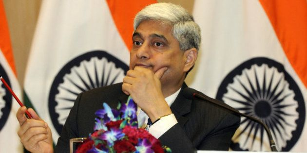 NEW DELHI, INDIA - AUGUST 31: MEA Official Spokesperson Vikas Swarup briefing the media during a press...