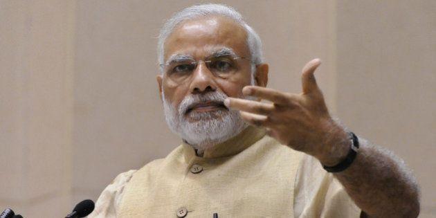 NEW DELHI, INDIA - OCTOBER 16: Indian Prime Minister Narendra Modi addressing the inauguration of the...