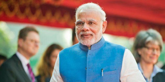 New-Delhi, Germany - October 05: Indias Prime Minister Narendra Modi attend Government Consultations...
