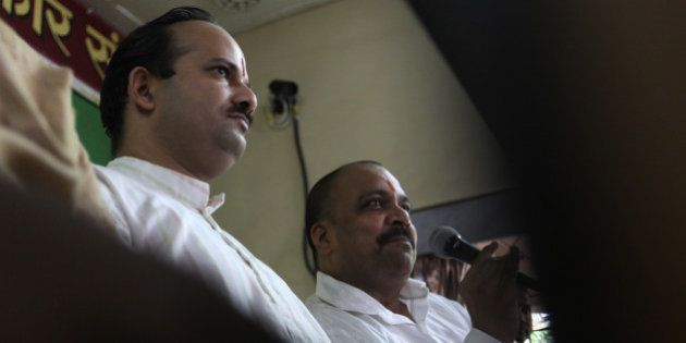 MUMBAI, INDIA - AUGUST 21: Sanatan Sanstha spokesperson Abhay Vartak and Hindu Vidhidnya Parisad secretary...