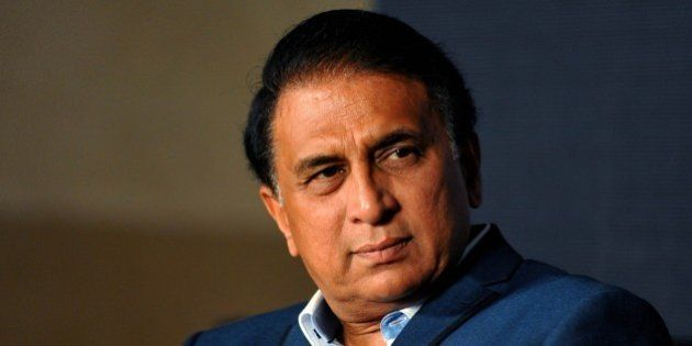 Former Indian cricketer Sunil Gavaskar looks on during the launch of a new album Khamoshi Ki Awaz by...