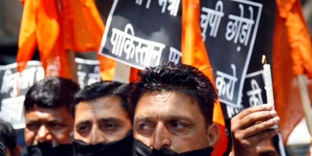 Hindu nationalist Shiv Sena party activists participate in a protest against Pakistan after Sarabjit...
