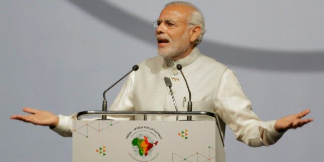 Indian Prime Minister Narendra Modi makes the opening speech during the India Africa Forum Summit at...