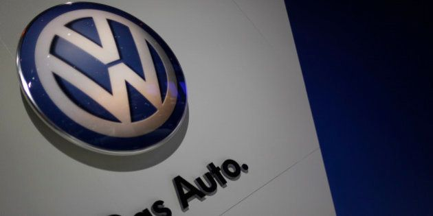 The Volkswagon emblem at the Chicago Auto Show Wednesday, Feb. 9, 2011 in Chicago. (AP Photo/Charles...