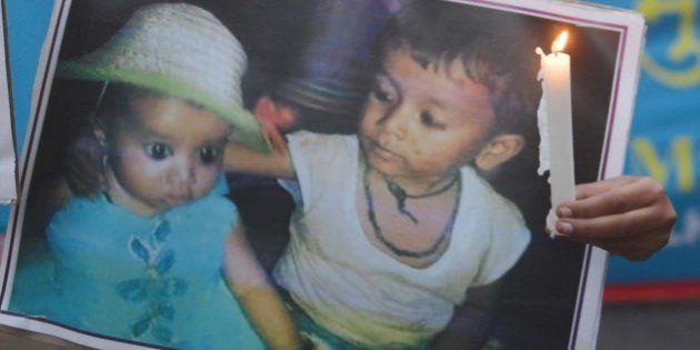 NEW DELHI, INDIA OCTOBER 25: Two Dalit children burned alive in Faridabad Dalit Shoshan Mukti Manch supporters...