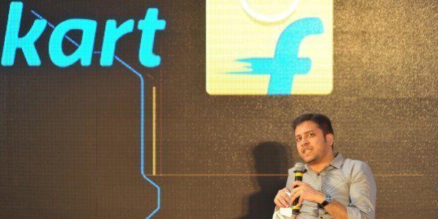 Chief Operating Officer and Co-Founder of Flipkart, Binny Bansal speaks during the launch of Flipkart's...
