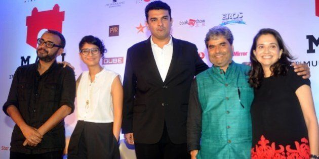 (L/R): Indian Bollywood personalities Dibarkar Banerjee, Kiran Rao, Siddharth Roy Kapur, Vishal Bhardwaj,...