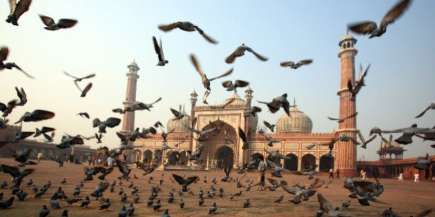 old dehli pigeons flying in front of jamal majid mosque , old delhi ,