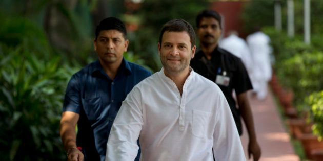 India's main opposition Congress party vice president Rahul Gandhi arrives for the Congress Working Committee...