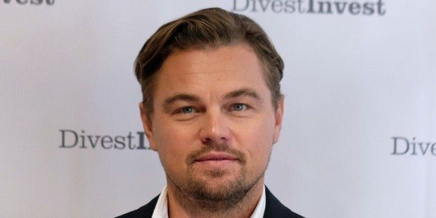 US actor Leonardo DiCaprio poses for photo after attending a press conference which announced further...