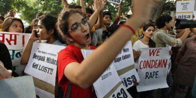 NEW DELHI, INDIA - OCTOBER 18: AISA (All India Students' Association) Students protest against the Delhi...