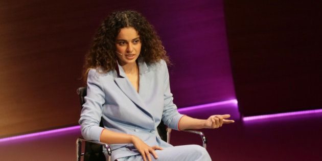 Bollywood actress Kangana Ranaut speaks during the Women in the World Summit at Cadogan Hall in London,...
