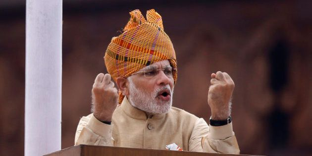 Indian Prime Minister Narendra Modi addresses the nation on the country's Independence Day from the ramparts...