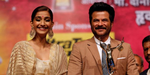 Bollywood actor Anil Kapoor stands with his daughter Sonam Kapoor after he received the Master Dinanath...