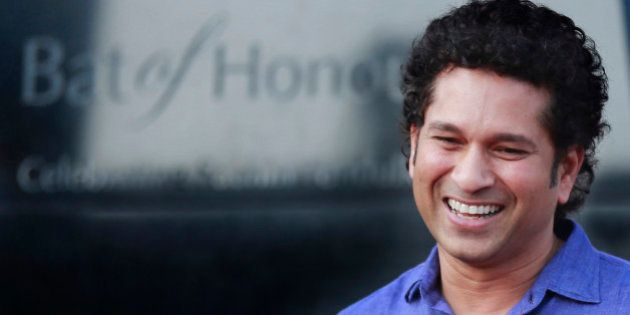 FILE - In this March 2, 2014 file photo, India's cricket icon Sachin Tendulkar stands near a large steel...