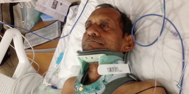 In this Saturday, Feb. 7, 2015 photo released by Chirag Patel, Sureshbhai Patel is shown in a bed at...