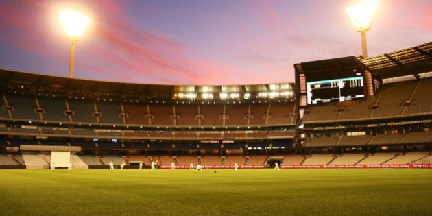 MELBOURNE, AUSTRALIA - OCTOBER 29: A general view at dusk during day two of the Sheffield Shield match...