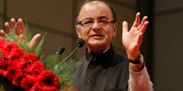 Indian Finance Minister Arun Jaitley speaks during a conference on 'Regulatory Framework for International...