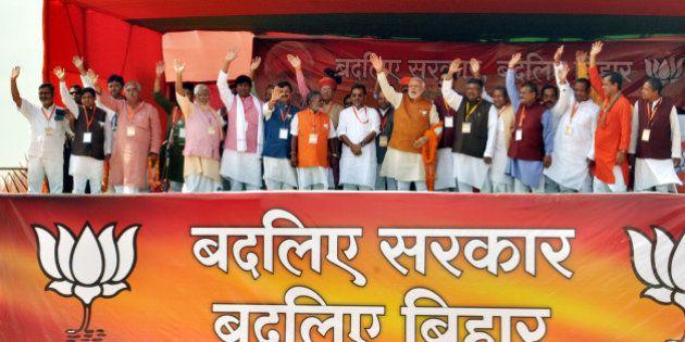 MADHUBANI, INDIA - NOVEMBER 1: Prime Minister Narendra Modi during an election campaign rally for Bihar...