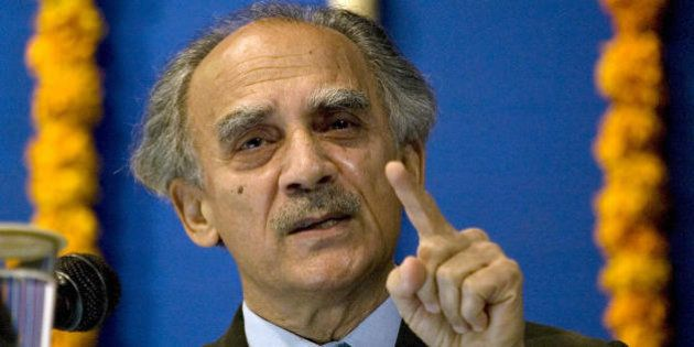 Indian economist Arun Shourie addresses a gathering in Ahmedabad on February 14, 2009. Shourie delivered...