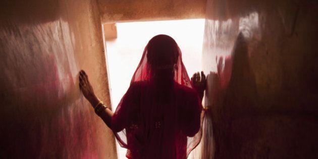 Indian woman walking down