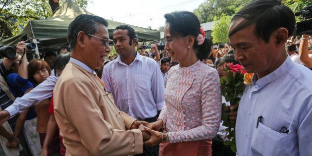 Aung San Suu Kyi, Myanmar's opposition leader and chairperson of the National League for Democracy (NLD),...