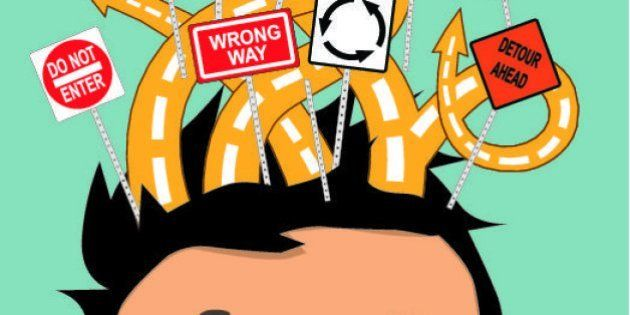 Portrait of a cartoon boy with a tangle of roads with confusing road signs above his head as a metaphor...