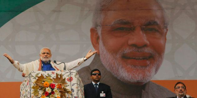 Indian Prime Minister Narendra Modi speaks during a public rally in Srinagar, Indian controlled Kashmir,...