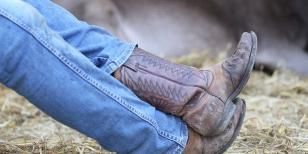 Lazy Cowboy leather boots and pants in blue jeans in the stable of