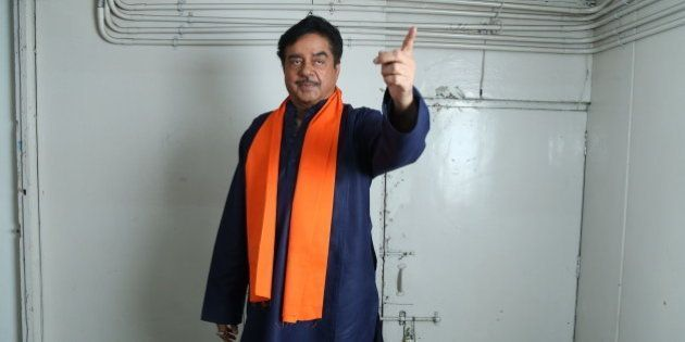 NEW DELHI, INDIA APRIL 19: Bollywood actor Shatrughan Sinha poses for photographers before his on-stage...